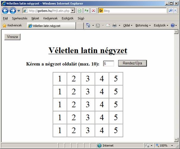 latin nézet táblázat)